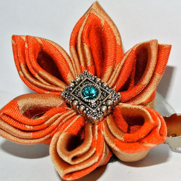 Orange and tan double layered kimono fabric kanzashi hair flower clip