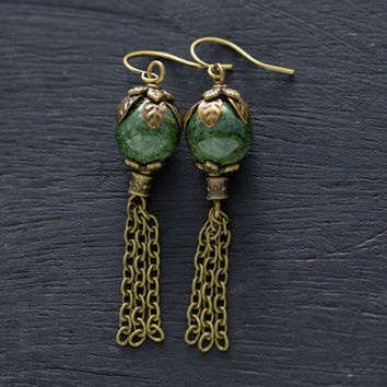 Green Antique Brass Chain Tassel Earrings, Bohemian Jewelry, Chain Earrings, Dangle Earrings, Boho Earrings, Nature Inspired