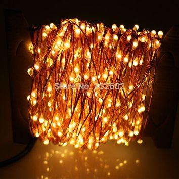 30m 300 LED Outdoor Christmas Fairy Lights Warm White Copper Wire LED String Lights Starry Light+Power Adapter(UK US EU AU Plug)
