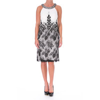 Sue Wong Womens Lace Overlay Embellished Cocktail Dress