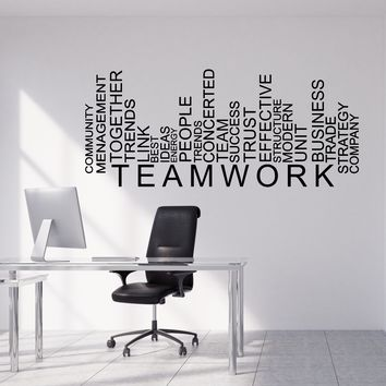 Vinyl Wall Decal Teamwork Words Business Office Decor Stickers Unique Gift (1609ig)