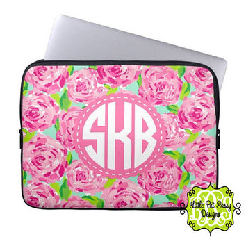 Macbook Laptop Computer Laptop Sleeve Pink Roses Cover Notebook Personalized Monogrammed