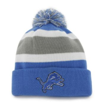 ONETOW NFL 47 Brand Detroit Lions Mens Breakaway Cuff Knit Hat-Blue/Silver/White