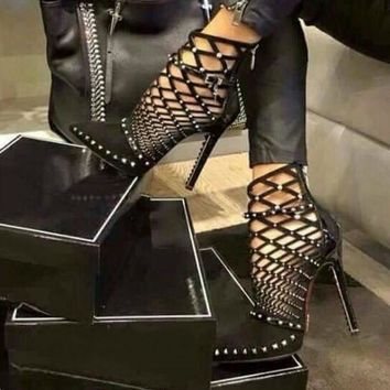 Stiletto Gladiator Caged Heels