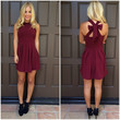 Cross Bow Dress - BURGUNDY