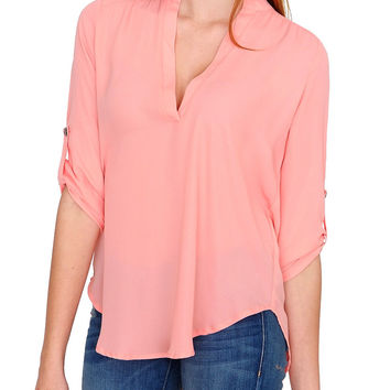 Laid Back Blouse Top - Peach