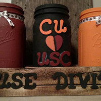 House Divided South Carolina vs Clemson Mason Jar Decor - Gamecocks vs Tigers House Divided Mason Jars