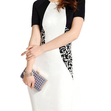 Fashion Short Sleeve Black and White Stiching Embroidered OL Summer Midi Bodycon Dress