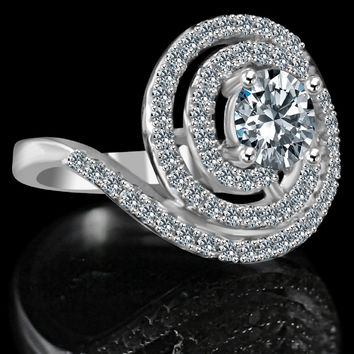1/2 CT. Round stylish swirl floating halo ring Simulated Diamond - Diamond Veneer. 635R3237