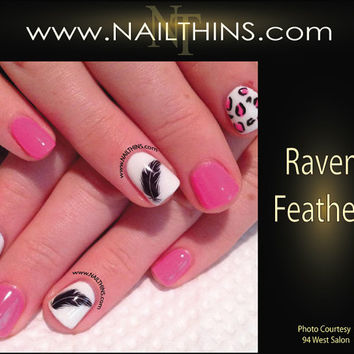 Raven Feather Nail Decal Halloween Black Feather Nails Black Bird NAILTHINS