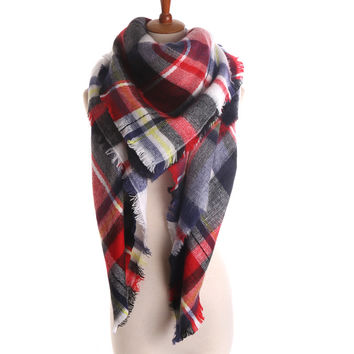 Women'S Scarf Soft Cashmere Blanket Warm in Winter Fashion Plaid Square Shawls 20 colors Size 140cm X 140cm