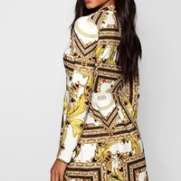 Imogen Scarf Print Wrap Detail Blazer Dress | Boohoo