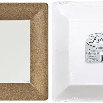 """texture gold 10"""" square dinner paper plates Case of 24"""