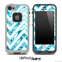 Large Chevron and Blue Swirled V2 Skin for the iPhone 5 or 4/4s LifeProof Case