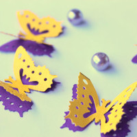 Set of 15 Mini Butterflies,2 layer Purple and Yellow butterflies,Scrap booking,Party decorations,Table Decorations,Cake decorations