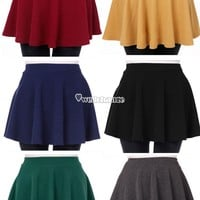 Women High Waist Short dress Plain Flared Pleated Sheer Skater Mini Skirts W3LE