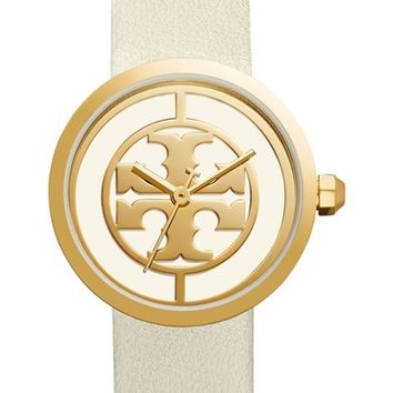 Tory Burch Reva Logo Dial Leather Strap Watch, 36mm | Nordstrom