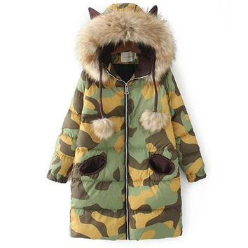 Harajuku Women Camouflage Padded Jacket Casaco Inverno 2017 New Winter Medium Long Slim Hooded Faux Fur Collar Thick Coat Parkas