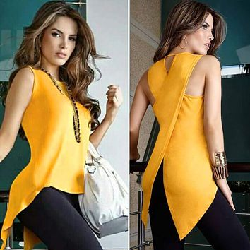 Summer  Sexy Sleeveless T-shirt Yellow Cross Sexy Ladies Sleeveless O-neck Slim Dovetail T Shirt Women Plus Size