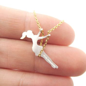 Girl Swinging on a Swing Acrobat Charm Necklace in Gold and Silver | DOTOLY