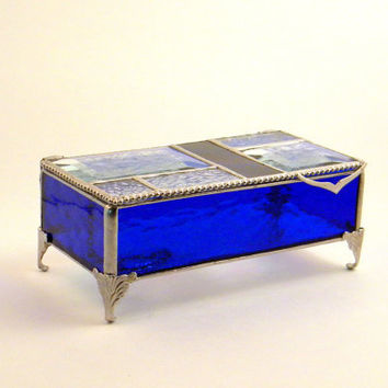 "Cobalt Blue Stained Glass Jewelry Box, Keepsake Box, 7 X 4"", Gift for Mom, Mothers Day Gift, Bridesmaid Gift"