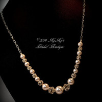 Bridal Necklace Sterling Silver Pearl and Rhinestone, Wedding Jewelry, Bridal Jewelry