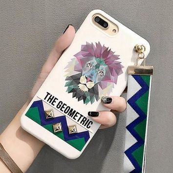 Mobile phone shell creative iphone 7plus all-inclusive lanyard personality Korean couple men and women models