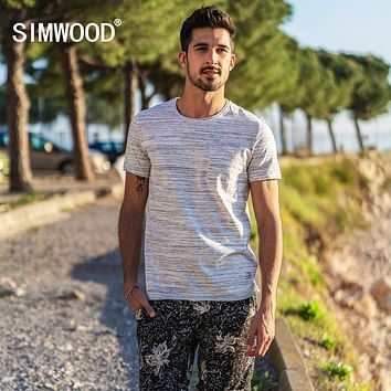 Summer New Striped T Shirt Men Slim Fit Raw Roll Neckline Fashion Top Casual T-shirt Tees