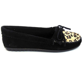 Minnetonka Kilty Moc - Black Leopard Moccasin Loafer