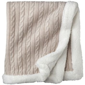 Circo® Heirloom Cable Knit Baby Blanket - Soft Beige with White Trim