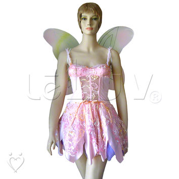 Roleplay Pink Fairy Pixie Halloween Costume + Wings Size Medium