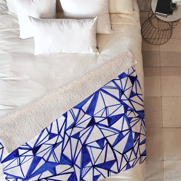 CayenaBlanca Geometric tension Fleece Throw Blanket