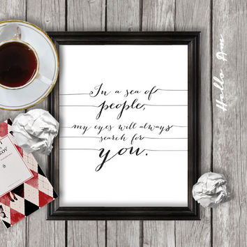 Love quote print, printable love quote, wall decor, framed love quote, wall art, digital typography calligraphy JPEG - INSTANT DOWNLOAD