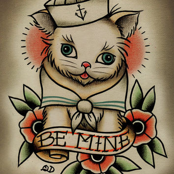 8x10 Tattoo Print -  Be Mine Kitten