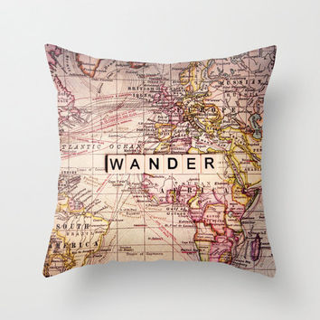 Map pillow, ROAM,18x18 or 22x22, travel pillow, typography, quote,cushion,decorator pillow, homewares, photo pillow
