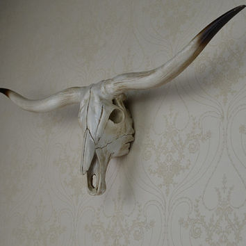 Cow skull wall hanging, Bison skull, cow head, wall mount, wall hanging, faux taxidermy art, Animal skull home decor, Christmas, new year