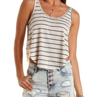 Combo Striped & Crochet Swing Tank Top by Charlotte Russe