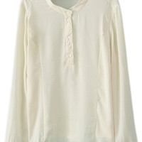 ROMWE | ROMWE Buttoned Long Sleeves Sheer White Blouse, The Latest Street Fashion