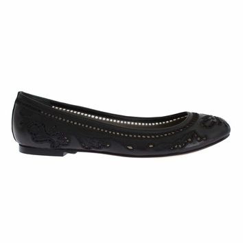 Dolce & Gabbana Black Leather Ricamo Ballet Flat Shoes