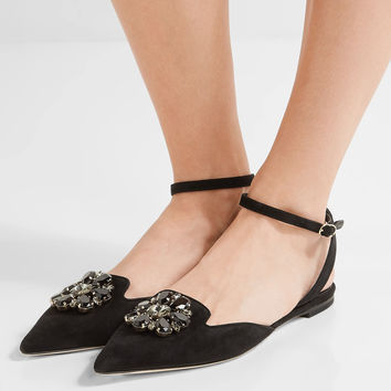 Dolce & Gabbana - Bellucci crystal-embellished suede point-toe flats