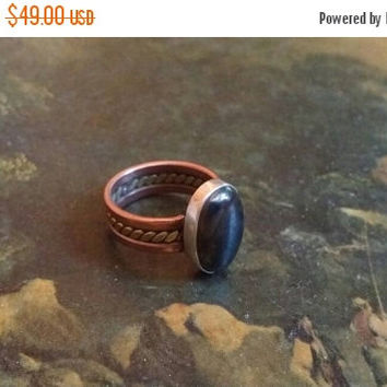SUMMER FLASH Sale 65% Off Summer SALE Hematite  Beaded Wide Band Size 6 1/4 Ring Gemstone. 925 Sterling  Silver Copper