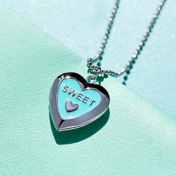 Sweet Love Pendant Necklace Silver Color Heart Floating Photo Memory Locket Charms Necklace For Femme Tiffan Jewelry Mujer 2018