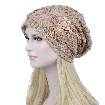 Turban Hats For Women Lace Slouchy Beanie Cap Winter Knitted Skullies Caps Fashion Flower Female Stylish Butterfly Beanies Hat