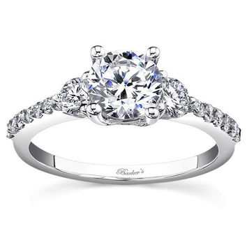 Barkev's Three Stone Round Cut Diamond Engagement Ring