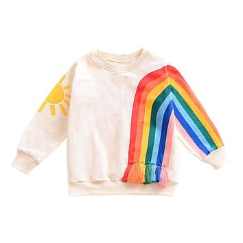 Fashion Infant Toddler Baby Girl Kids Sun Rainbow Fringing Long Sleeve O Neck Infant Shirt BM88