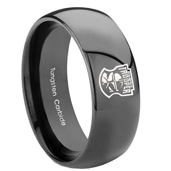 8mm Star Wars Clone Trooper Dome Black Tungsten Carbide Custom Ring for Men