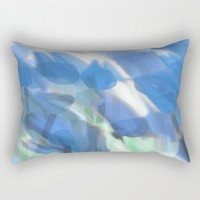 Meadow Flowers  In Soft Blue Rectangular Pillow by Jen Warmuth Art And Design
