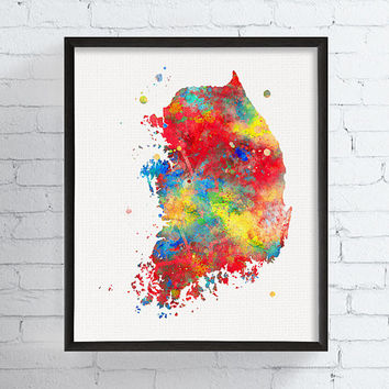 South Korea Map, South Korea Wall Decor, South Korea Poster, Watercolor Map, Map Painting, Country Map, Travel Print, Framed Art