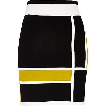 Black colour block mini skirt