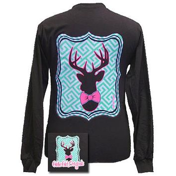 Girlie Girl Originals Collection Preppy Deer Country Chocolate Bright Long Sleeves T Shirt